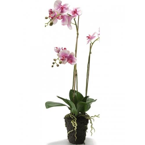 Орхидея фаленопсис фуксия с землёй искусственная h75 см