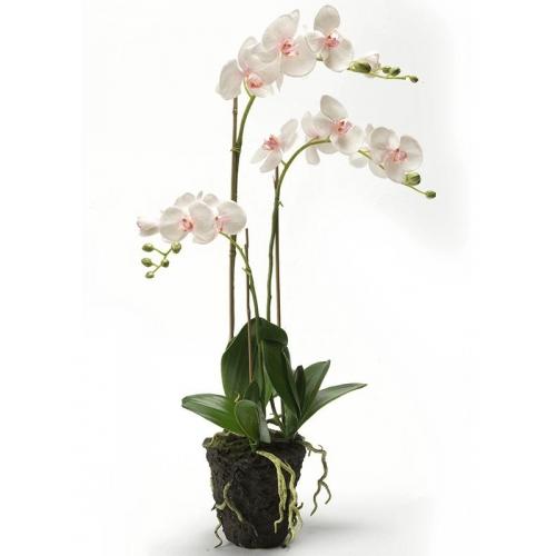 Орхидея фаленопсис бело-розовая с землёй искусственная h75 см