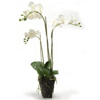 Орхидея фаленопсис белая с землёй искусственная h75 см