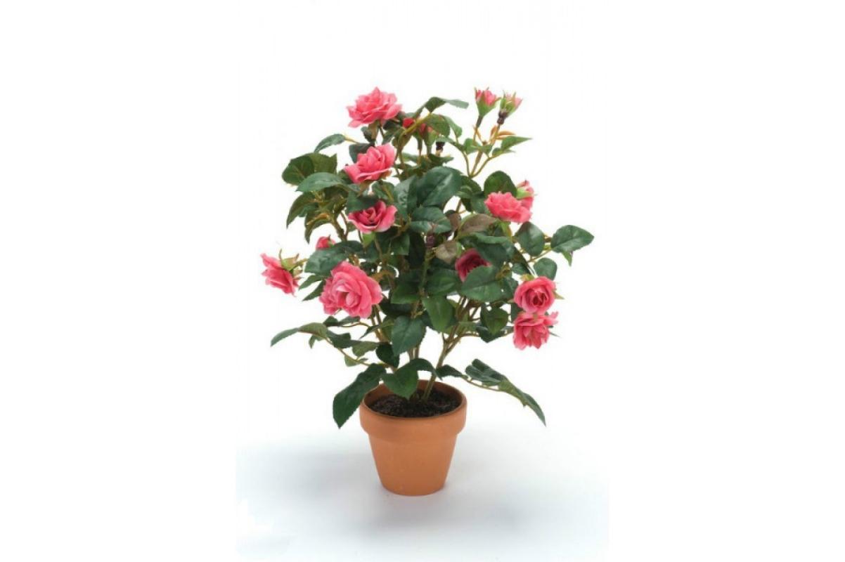 Куст розы искусственный темно-розовый без кашпо 30 см