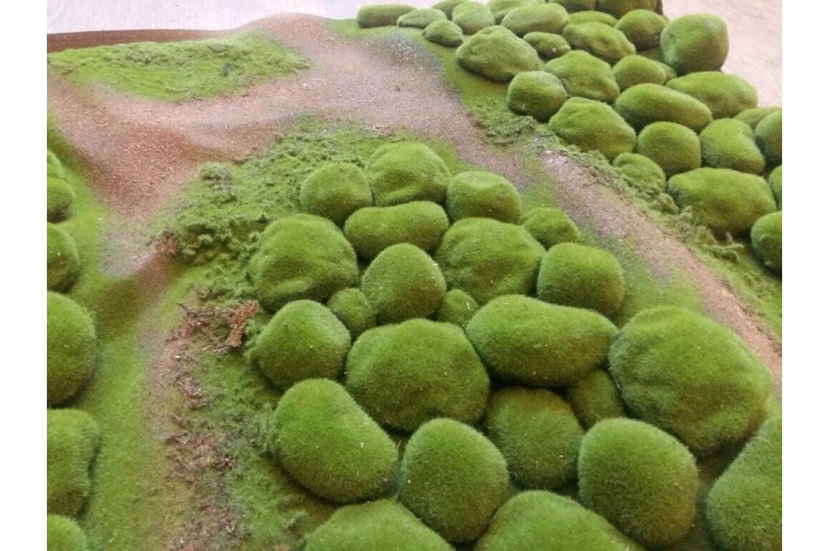 Мох искусственный камушки полотно 100*100 см - Фото 3
