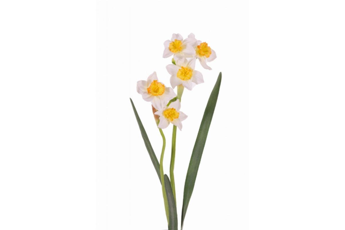 Нарцисс искусственный бело-желтый 53 см