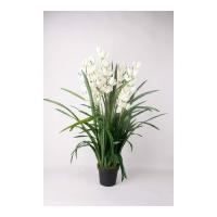 Искусственная Орхидея Цимбидиум белая куст в кашпо 100 см
