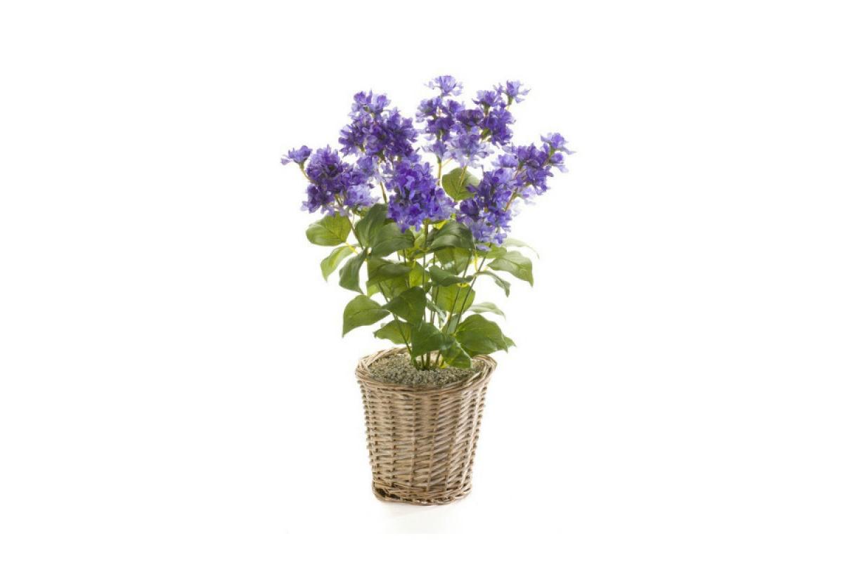 Сирень искусственная куст фиолетовая 45 см (без кашпо) - Фото 2