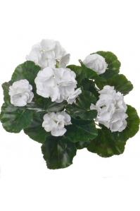 Герань махровая куст искусственная белая 35 см (без кашпо)