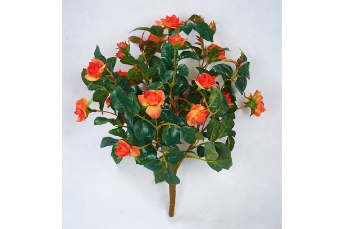 Искусственная Роза куст оранжевый без кашпо 30 см