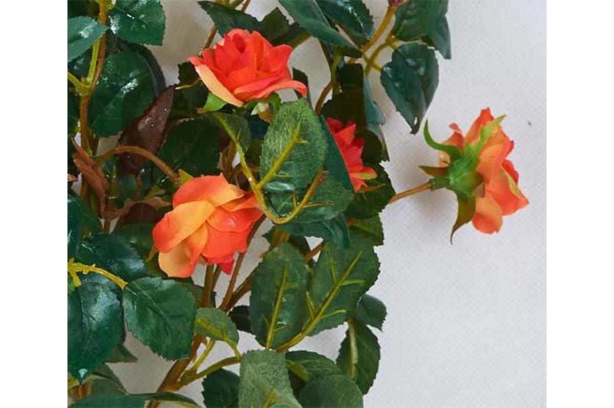 Искусственная Роза куст оранжевый без кашпо 30 см - Фото 2