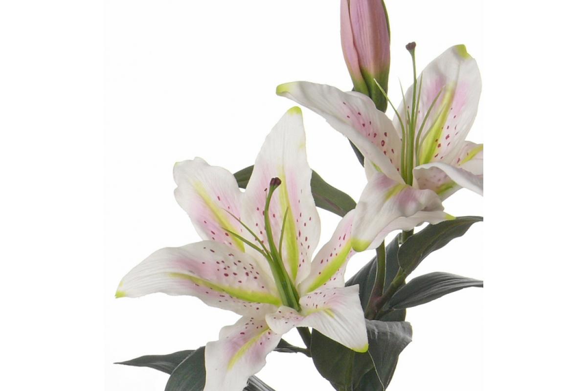Лилия Кассабланка искусственная бело-розовая 95 см (Real Touch) - Фото 2