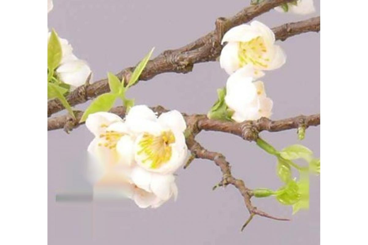Персик Ветка цветущая Де Люкс искусственная кремовая 95 см - Фото 2