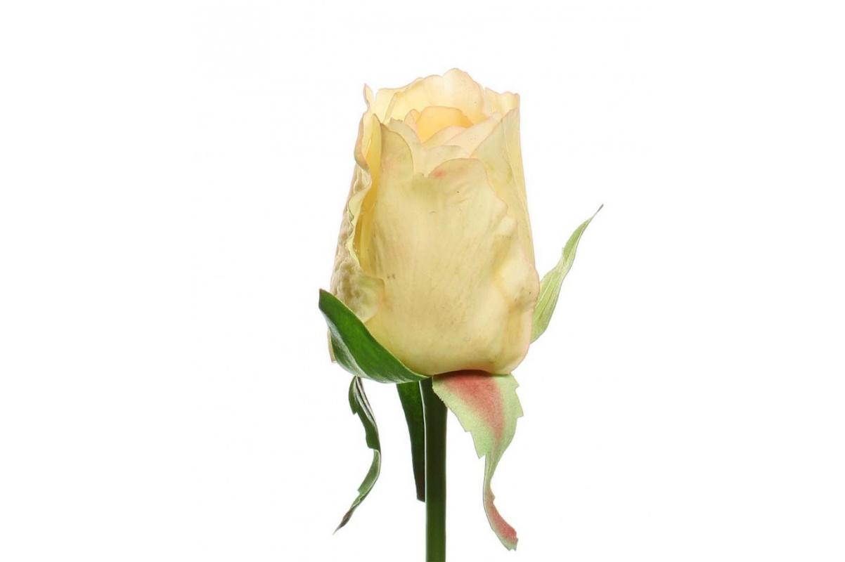 Роза Джой в бутоне искусственная светло-желтая 68 см (Real Touch) - Фото 2