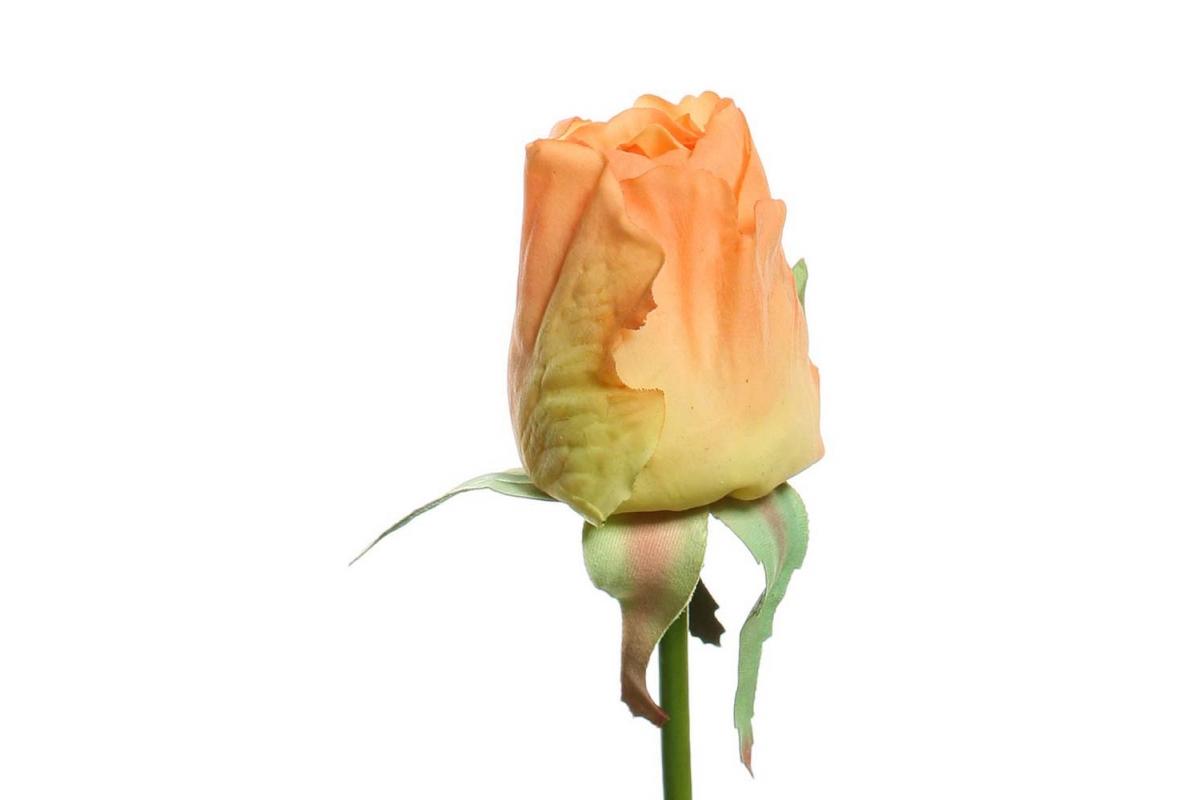 Роза Джой в бутоне искусственная оранжевая 68 см (Real Touch) - Фото 2