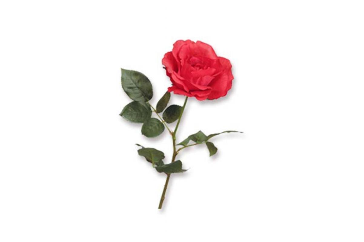 Роза Джой распустившаяся искусственная красная 73 см (Real Touch)