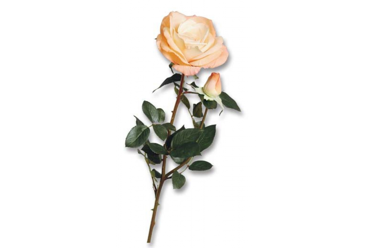 Роза Элизабет с бутоном искусственная персик 85 см (Real Touch)
