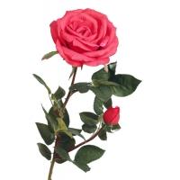 Роза Элизабет с бутоном искусственная красная 85 см (Real Touch)