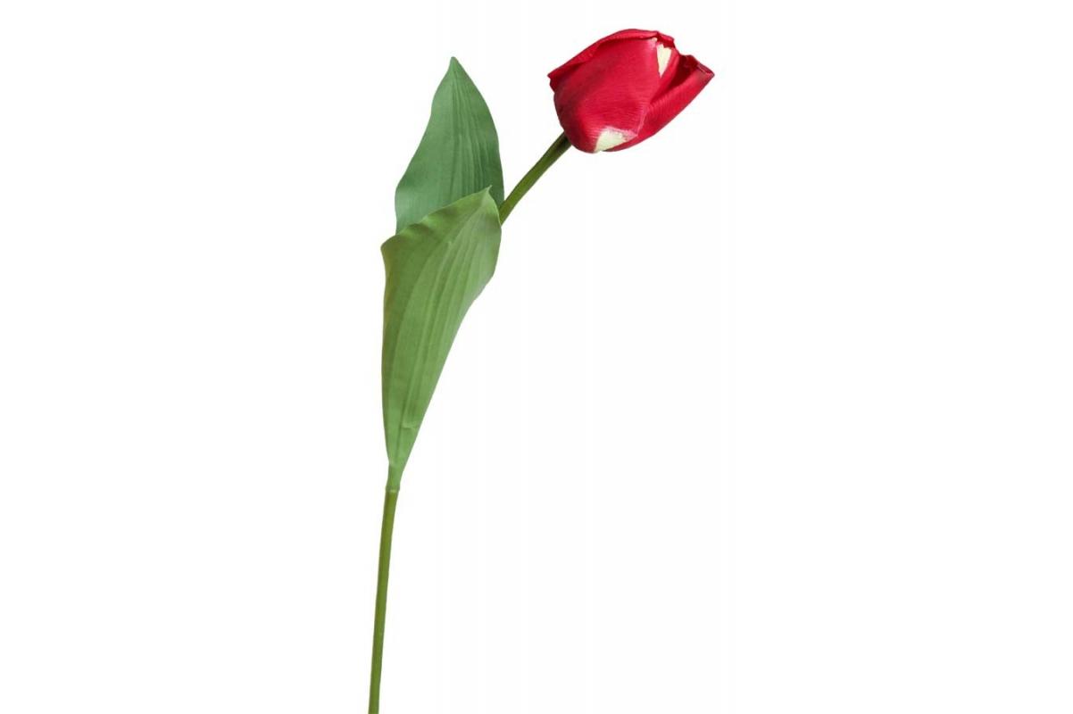 Тюльпан искусственный красный 60 см (Real Touch)