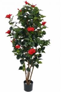 Гибискус искусственный Китайский цветущий красный 180 см