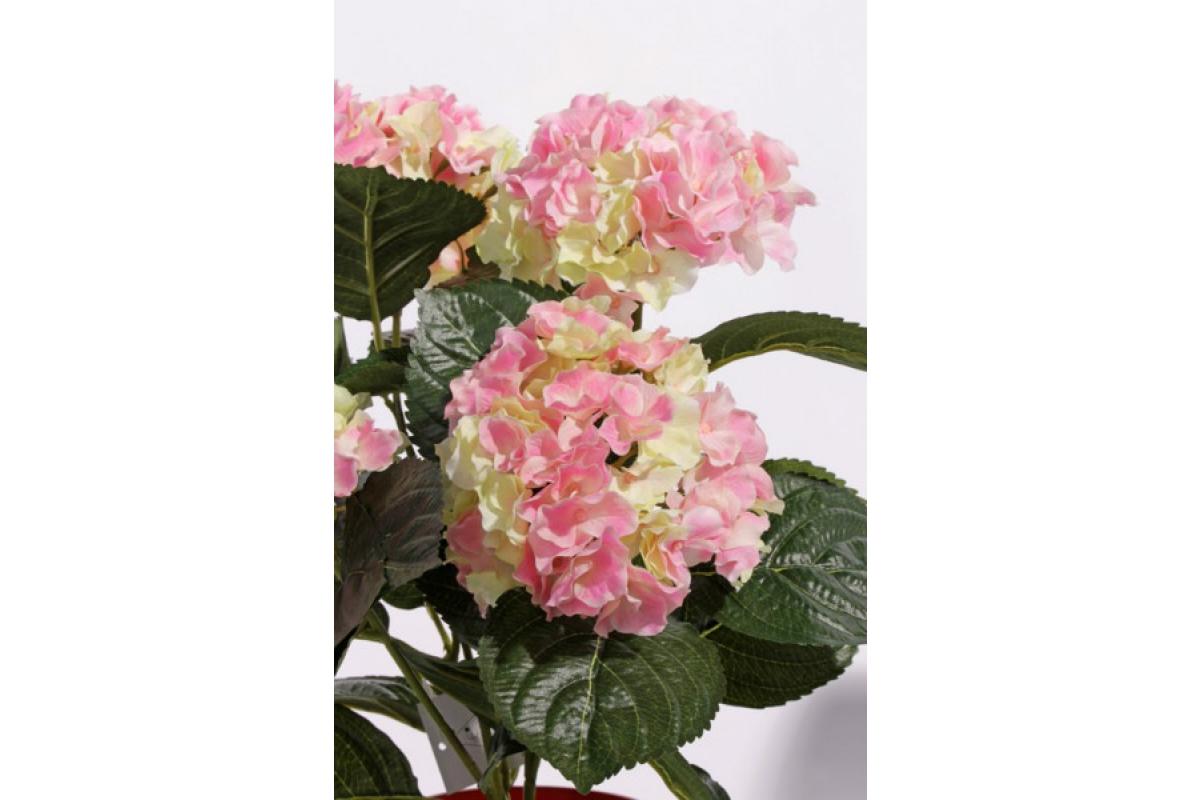 Искусственная Гортензия куст розово-зеленая в горшке 36 см - Фото 2