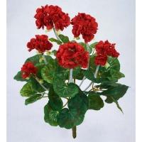 Герань махровая куст искусственная без кашпо красная 40 см