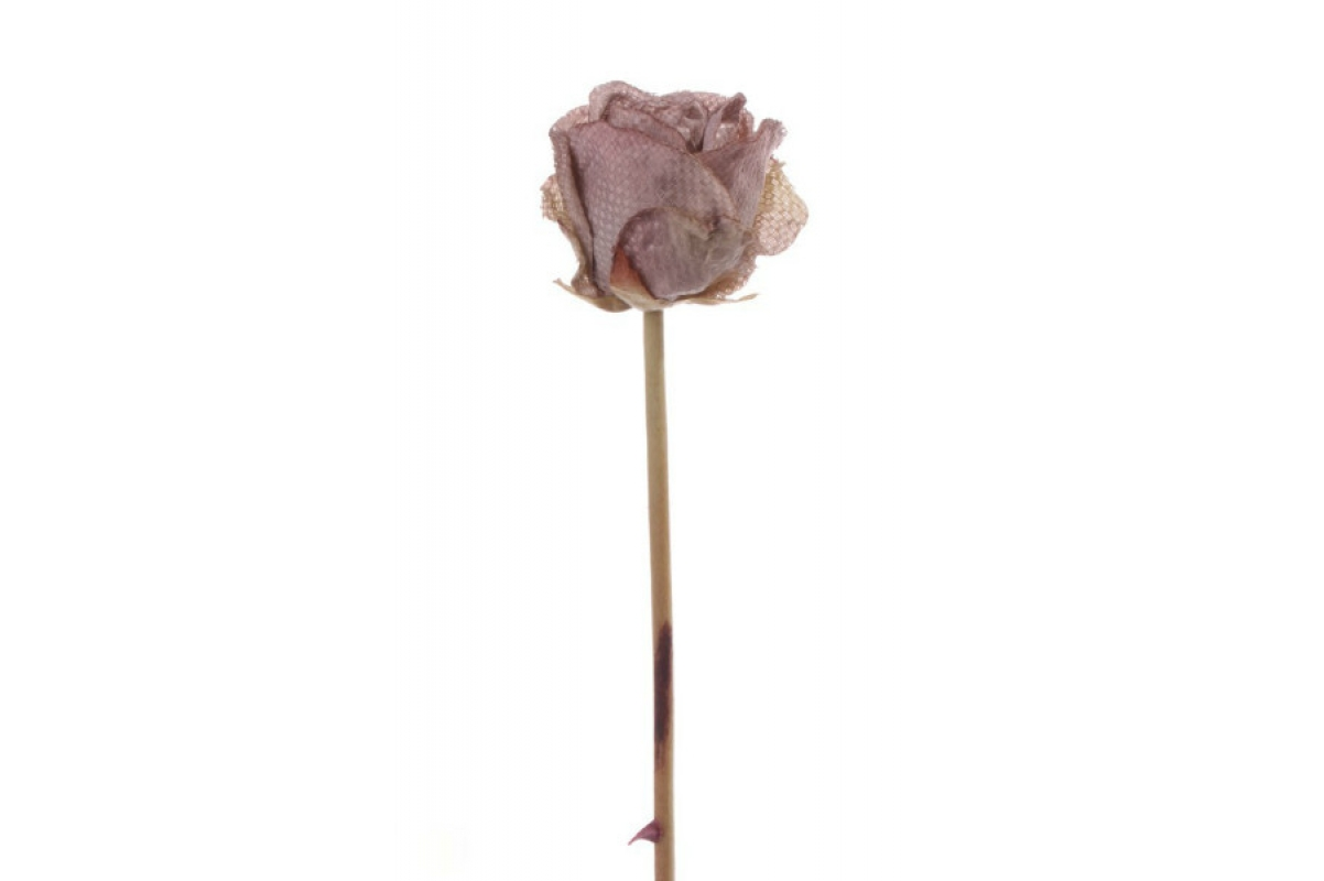 Роза в бутоне винтажная искусственная шампань 58 см