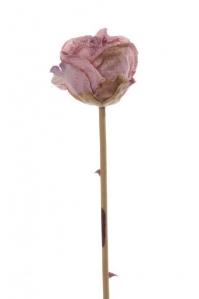 Роза в бутоне винтажная искусственная розовый 58 см