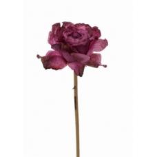 Роза распустившаяся винтажная искусственная фуксия 55 см