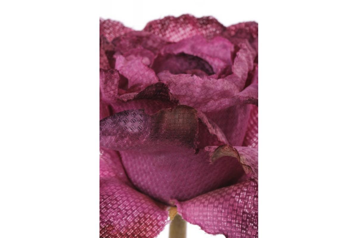 Роза распустившаяся винтажная искусственная фуксия 55 см - Фото 2