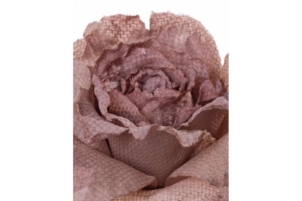 Роза распустившаяся винтажная искусственная шампань 55 см - Фото 2