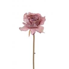 Роза распустившаяся винтажная искусственная розовая 55 см