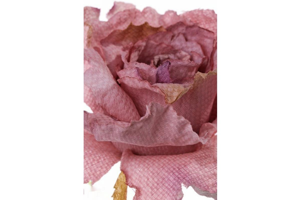 Роза распустившаяся винтажная искусственная розовая 55 см - Фото 2