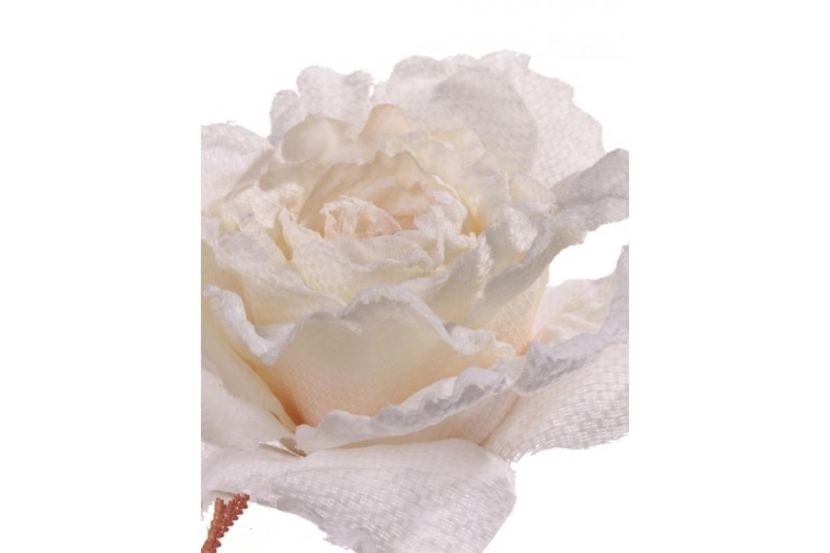 Роза распустившаяся винтажная искусственная кремовая 55 см - Фото 2