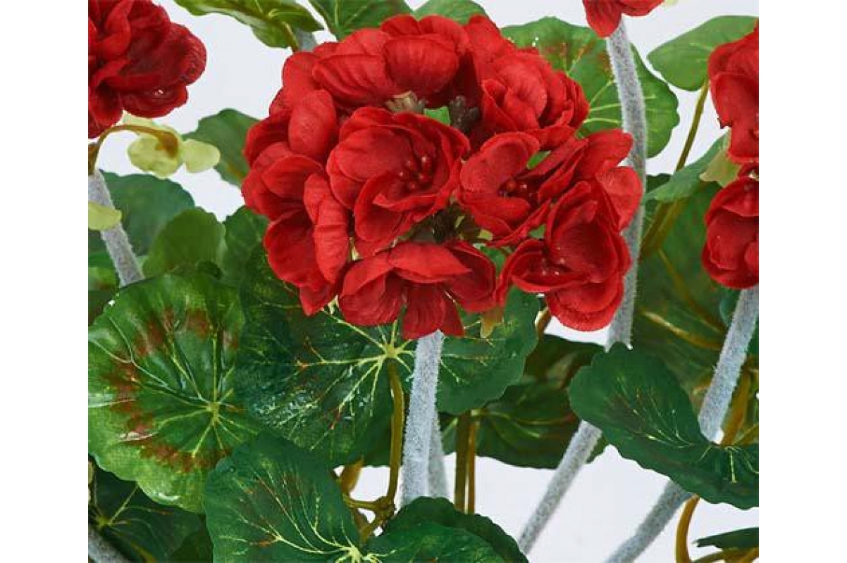 Герань махровая куст искусственная без кашпо красная 40 см - Фото 2