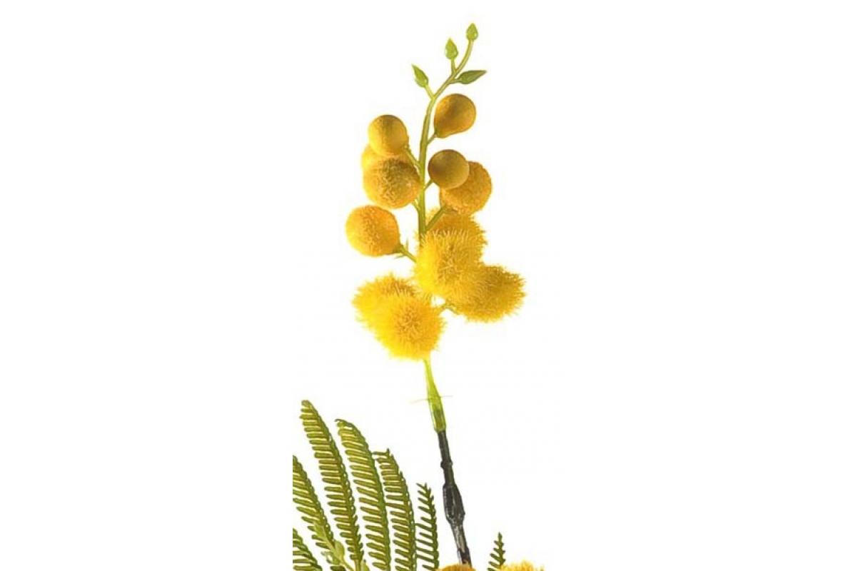 Мимоза ветка искусственная желтая 70 см - Фото 2
