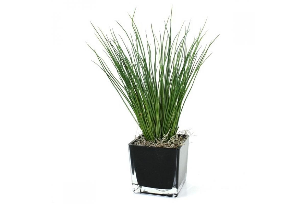 Куст травы искусственный зеленый 35 см (без кашпо) - Фото 2