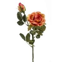 Роза Роби искусственная с бутоном оранжевая 47 см