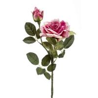 Роза Роби искусственная с бутоном розовый 47 см