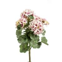 Герань бархатная куст искусственная без кашпо светло-розовая 35 см