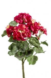 Герань бархатная куст искусственная без кашпо ярко-розовая 35 см