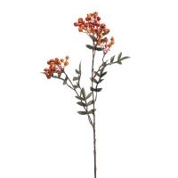 Ветка Рябины осенняя искусственная с ягодами оранжевая 65 см
