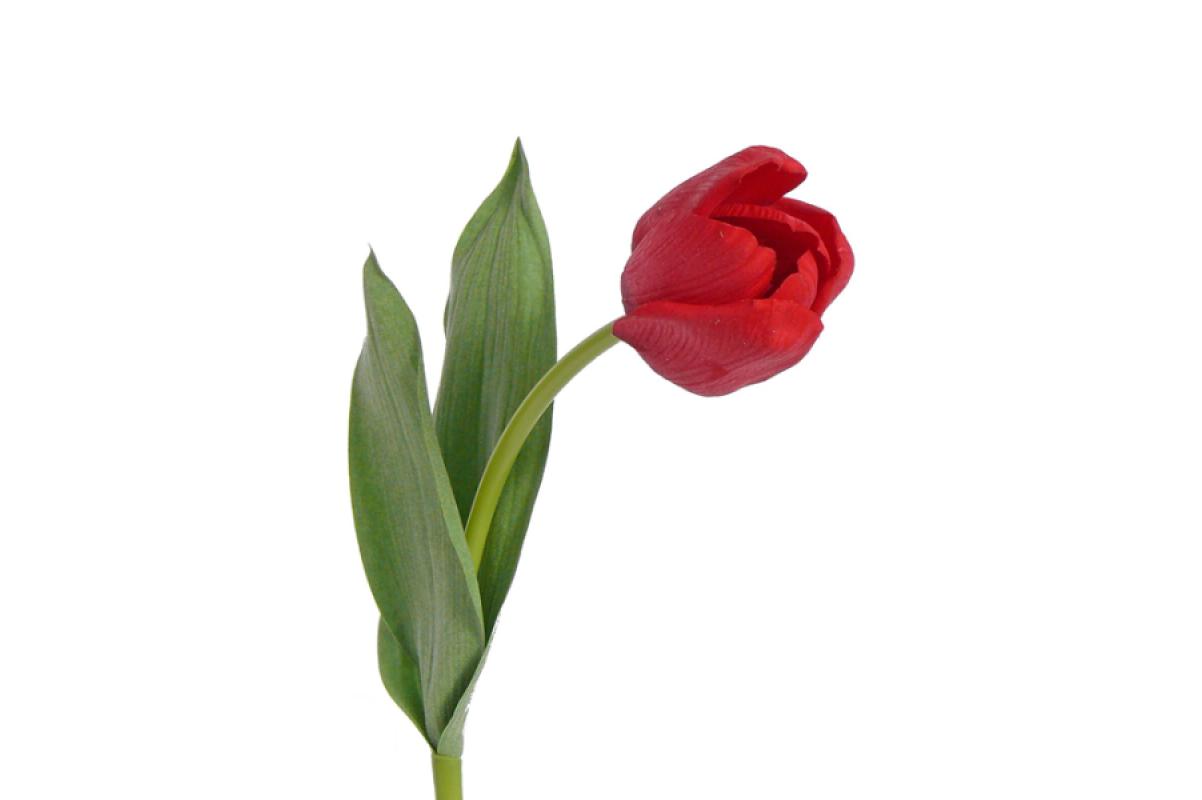 """Тюльпан Королевский """"Royal"""" искусственный красный 48 см (Real Touch)"""