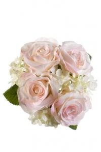 Букет из Роз с Гортензиями искусственный нежно-розовый 20 см