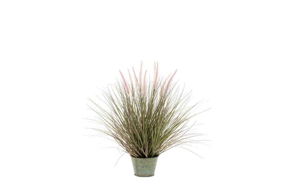 Трава Пеннисетум с розовыми колосками искусственнная в кашпо 71см