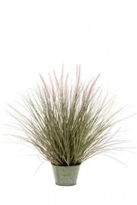 Трава Пеннисетум с розовыми колосками искусственная 99 см в кашпо