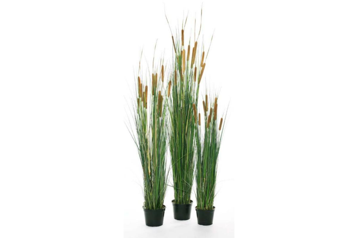 Трава с Камышом искусственная в кашпо 120 см