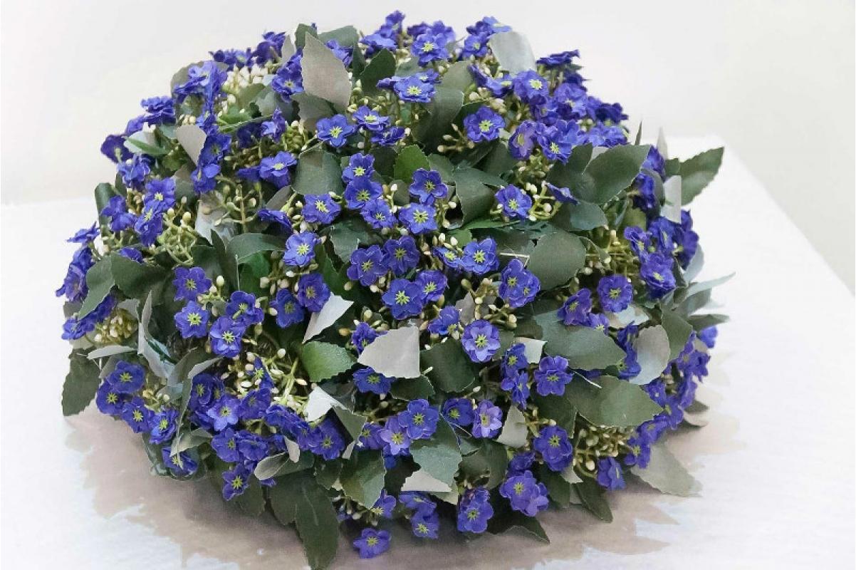 Полусфера декоративная с фиолетовыми цветами искусственная 33 см - Фото 3