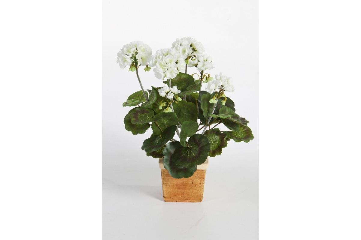 Герань искусственная цветущий куст 33 см (без кашпо)