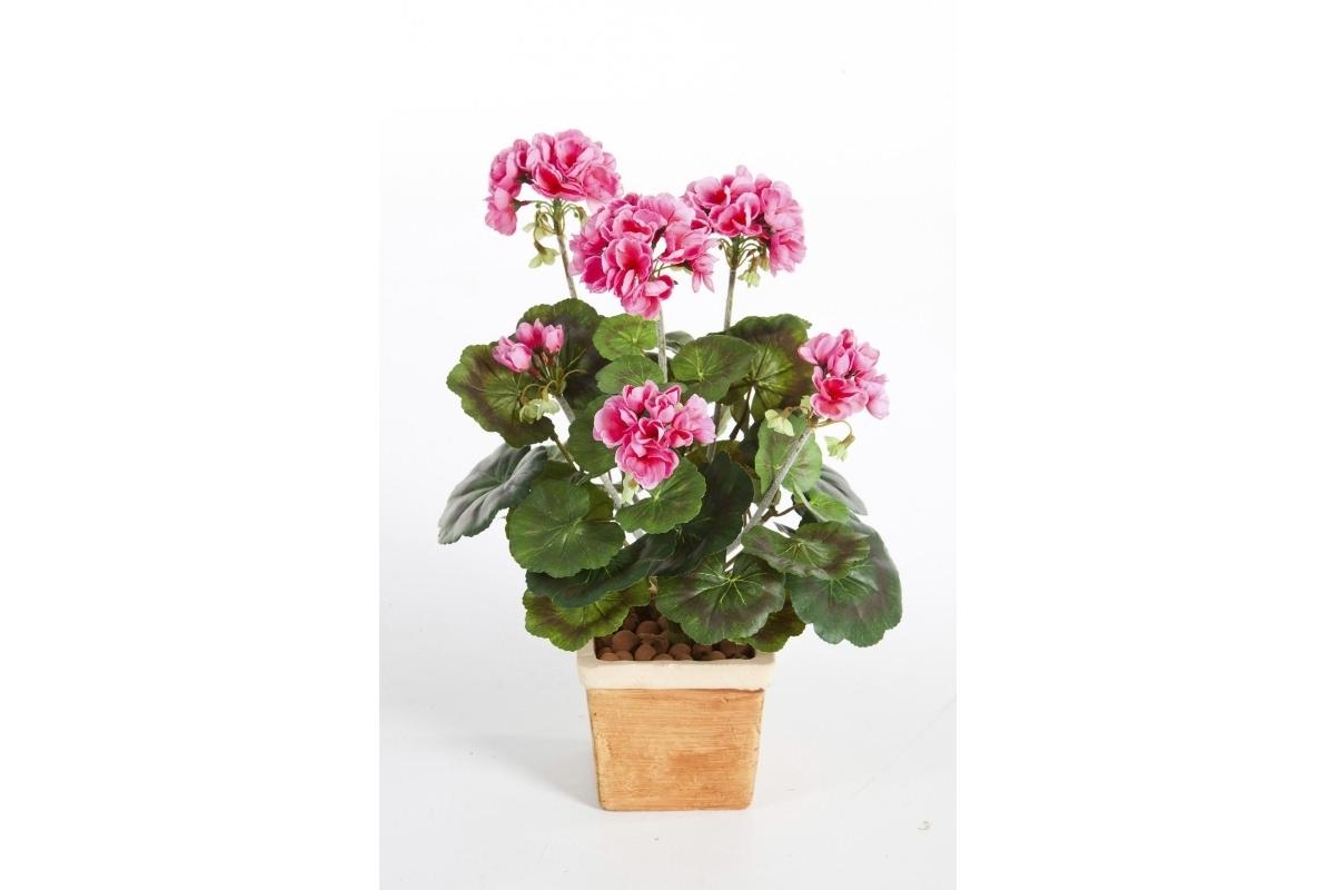 Герань искусственная цветущий куст 33 см (без кашпо) - Фото 2