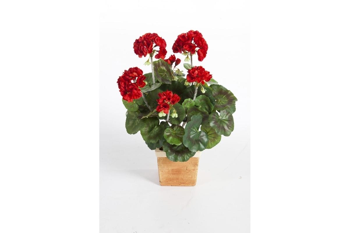 Герань искусственная цветущий куст 33 см (без кашпо) - Фото 3
