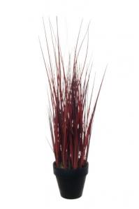 Трава искусственная в горшке красная 58 см