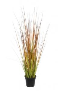 Трава искусственная в горшке зелено-оранжевая 50 см