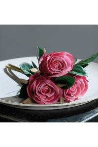 Букет из 3 Роз искусственный розовый 26 см